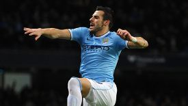 Alvaro Negredo celebrates after scoring against Swansea.