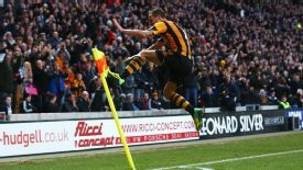 Hull's David Meyler celebrates his goal against Liverpool.