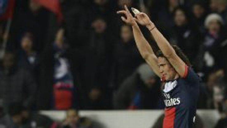 Edinson Cavani opened the scoring for PSG against Lyon.