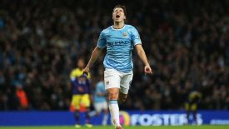 Samir Nasri celebrates his second and Manchester City's third against Swansea.