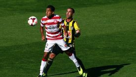 Tahj Minniecon of Western Sydney Wanderers in action against Wellington Phoenix.