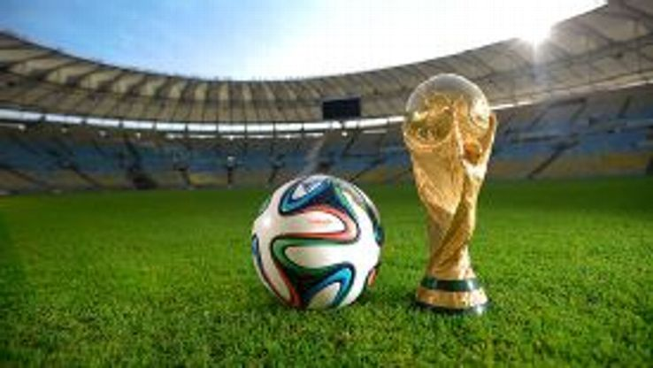The official match ball for the FIFA 2014 World Cup -- the brazuca.
