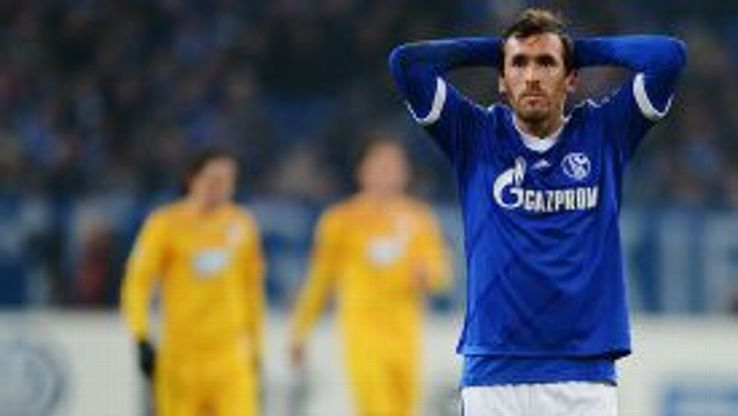 Christian Fuchs shows his frustration as Schalke are bundled out.