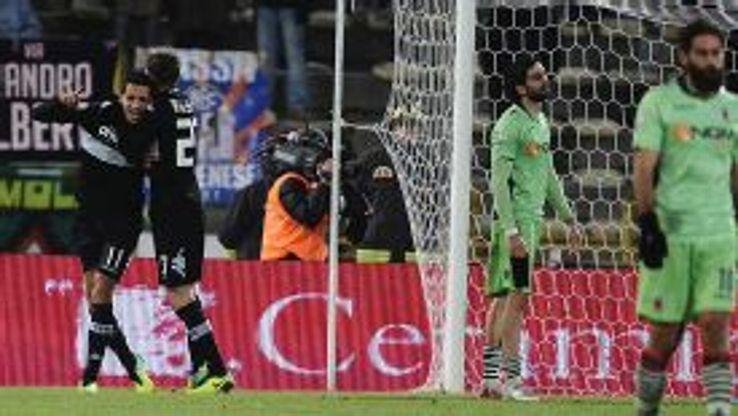 Siena's Zoumair Agharbi Feddal celebrates scoring the winning goal against Bologna.