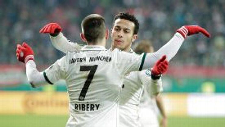 Franck Ribery and Thiago Alcantara celebrate Bayern Munich's 2-0 win in the DFB-Pokal.