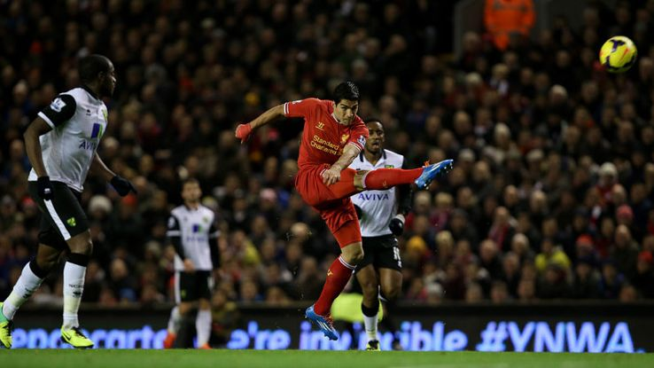 Luis Suarez 1st goal liverpool vs Norwich