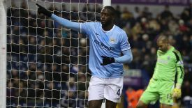 Yaya Toure scored two for Manchester City against West Brom.