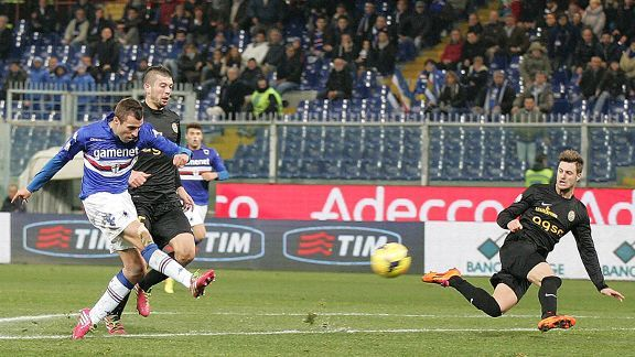Nenad Krsticic scores for Sampdoria during their Coppa Italia win against Verona.