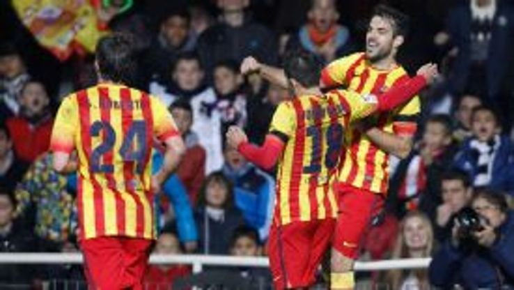 Barcelona celebrate a goal in the Copa del Rey.