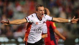 Besart Berisha celebrates his first goal of the game for Brisbane Road