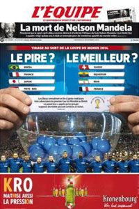 L'Equipe's front page identifies potential best and worst-case scenarios.