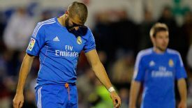 Karim Benzema shows his frustration.