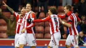 Stoke City's Stephen Ireland celebrates the second.