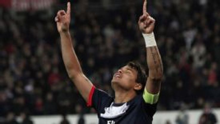 Paris Saint Germain's captain Thiago Silva celebrates.