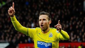 Yohan Cabaye celebrates after putting Newcastle ahead at Old Trafford.