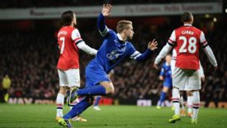 Gerard Deulofeu wheels away after levelling for Everton.