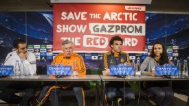 A Greenpeace banner was put up during Carlo Ancelotti's news conference.