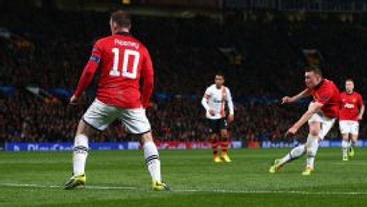 Phil Jones volleys in Manchester United's opener against Shakhtar.