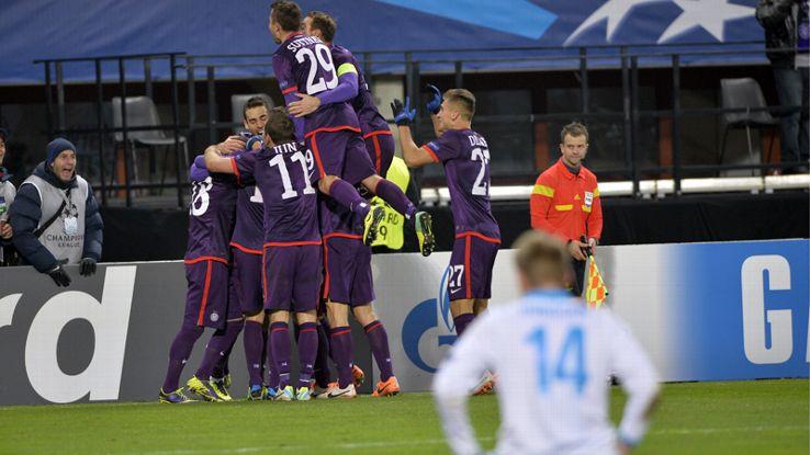 Austria Vienna's players celebrate their opening goal against Zenit St Petersburg.