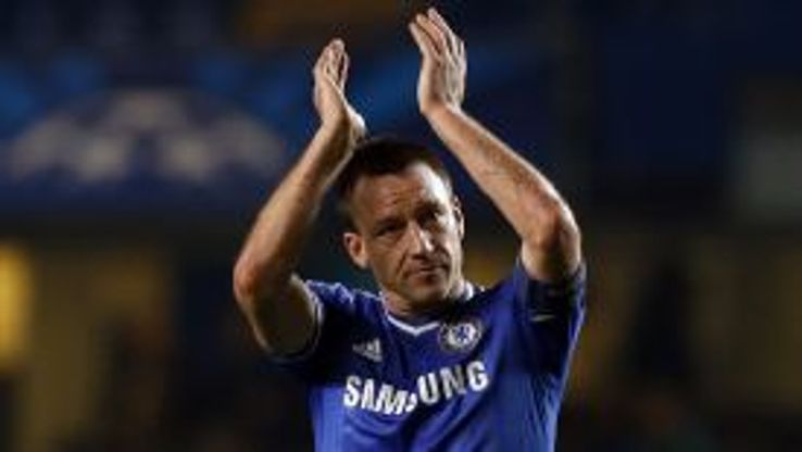 John Terry applauds Chelsea's fans after they saw off Steaua Bucuresti.
