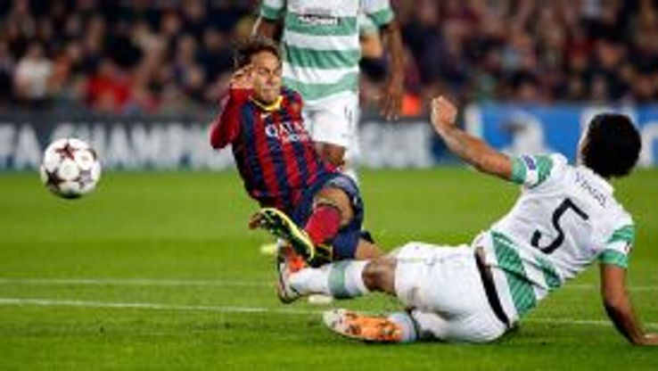 Neymar fires home his second goal against Celtic from the edge of the area.