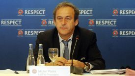 Michel Platini attends a UEFA Executive Committee meeting in Bilbao.