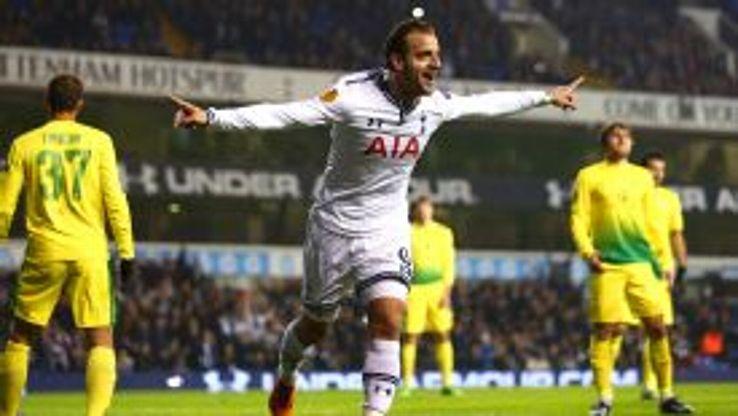 Roberto Soldado hit his first hat trick for Tottenham.