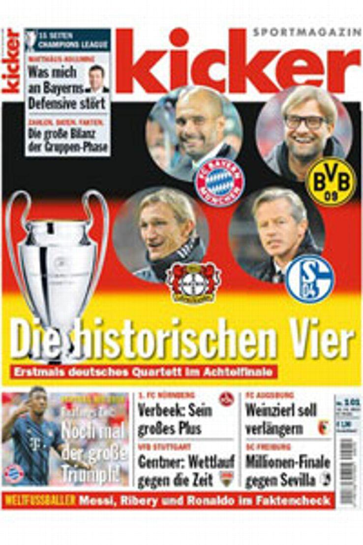 Kicker's front page celebrated the quartet's achievement.