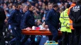 Laurent Koscielny was injured during Arsenal's game against Man City.