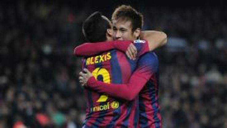 Neymar is congratulated by Alexis Sanchez after his brace earned Barcelona three points.