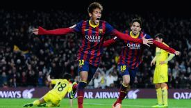 Neymar wheels away after scoring his second goal against Villarreal.