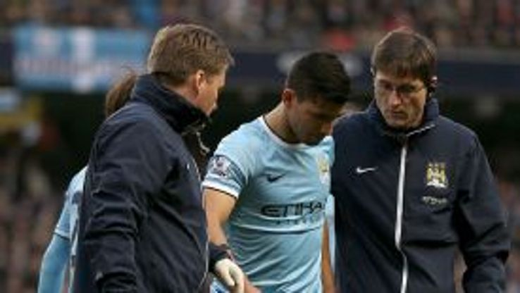 Sergio Aguero limped off against Arsenal.