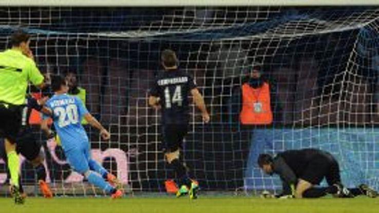 Blerim Dzemaili scores for Napoli against Inter.