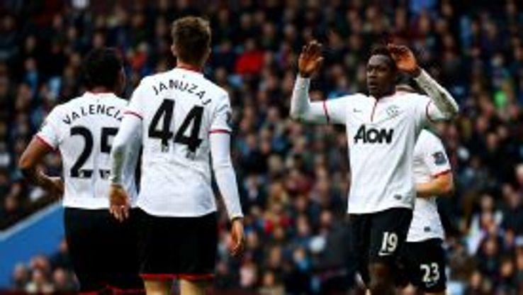 Danny Welbeck celebrates his second goal against Villa.