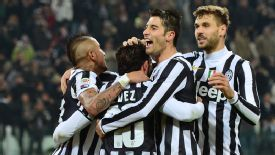 Juventus players celebrate during their win against Sassuolo.