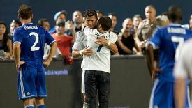 Ronald Gjoka invaded a pre-season friendly between Real Madrid and Chelsea to hug Cristiano Ronaldo.