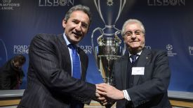 Manchester City's director of football Txiki Begiristain, left, with former Barca vice-president Amador Bernabeu at the draw in Nyon.