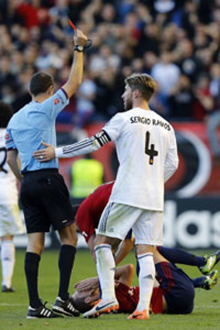 Sergio Ramos strikes a familiar pose against Osasuna.