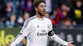 Sergio Ramos strikes a familiar pose against Osasuna.