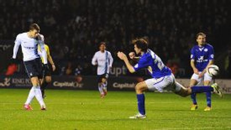Edin Dzeko scores his second goal at Leicester City.