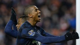 Ashley Young celebrates scoring against Stoke in the Capital One Cup.