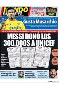 Mundo Deportivo's front page shows receipts which it claims proves money was donated to UNICEF from the 'Messi & Friends' matches.