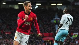 Adnan Januzaj celebrates after putting Man United two to the good against West Ham.
