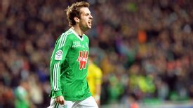 Benjamin Corgnet celebrates after giving St Etienne the lead.