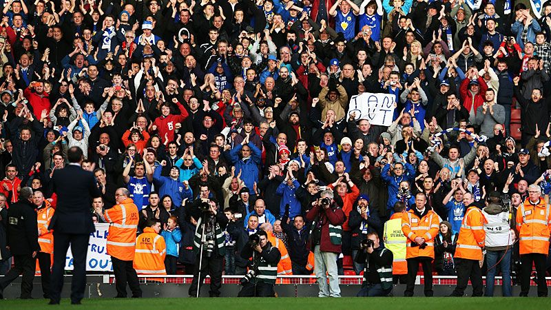 Malkay Mackay applauds the Cardiff fans at Anfield.