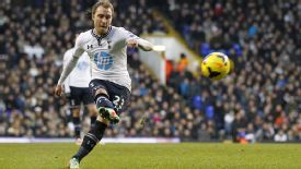 Christian Erkisen's free-kick gave Tottenham the lead against West Brom.
