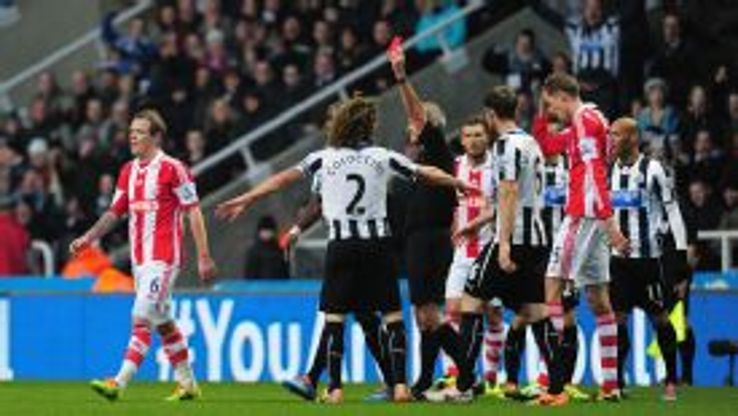 Stoke City's Glenn Whelan was shown a red card against Newcastle.