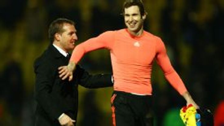 Brendan Rodgers and Petr Cech Chelsea vs Watford