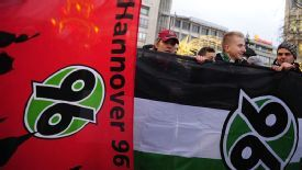 Hannover supporters demonstrate in support of Mirko Slomka following the news of his dismissal.
