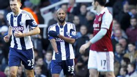 Nicolas Anelka celebrates after scoring at West Ham with a controversial 'quenelle' gesture, which is alleged to be anti-Semitic.